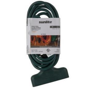 Sunlite 04176 EX9/TT/16/G  Outdoor Tri-Tap Extension Cord 9-Feet, Green Wire