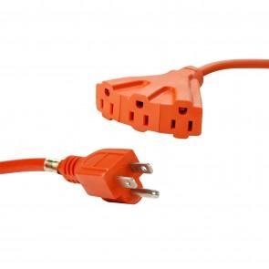 Sunlite 04195 EX50/TT/14/O  Outdoor Tri-Tap Extension Cord 50-Watt, Orange Wire
