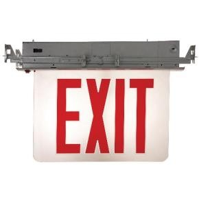 Sunlite 04325 EXIT/EDGE/RC/1RF/CL/AL/EM/NYC Recessed Edge-Lit Exit Light, Aluminum Housing, Single Faced Clear Plate, NYC Approved, Emergency Backup Battery, Universal Mounting Plate Included