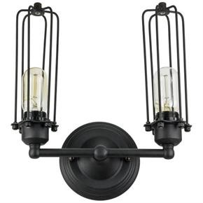 Sunlite 07040 AQF/2WT/AB 2 Wall Cage Wall Sconce Vintage Antique Style Fixture, Matte Black Finish