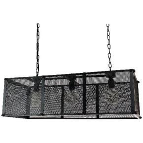 Sunlite 07078 AQF/NC/PD/R  Rectangle Net Cage Pendant Vintage Antique Style Fixture, Matte Black Finish