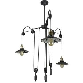 Sunlite 07086 AQF/IS/3PDW/MB  Round Shade with weight Pendant Vintage Antique Style Fixture, Matte Black Finish