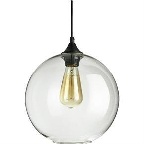 Sunlite 07092 AQF/CG/PD/SG  Glass Sphere Collection Pendant Vintage Antique Style Fixture, Clear Glass