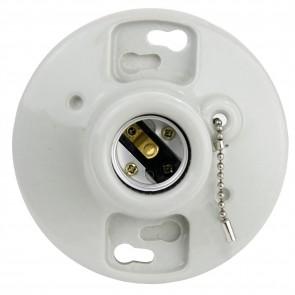 Sunlite 20120 E198/CD Porcelain Lamp Holder With Pull Chain