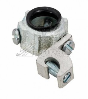 """Topaz 335MSS 1-1/2"""" Grounding Lug Wire Size Min 14Max 4  With Aluminum Lay-In Lug - Threadless Set Screw Type Malleable Iron Insulated Metallic Grounding Bushings"""