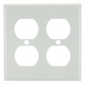 Sunlite 50617 E212/W 2 Gang Duplex Receptacle Plate, White