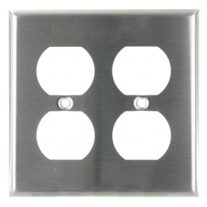 Sunlite 50645 E212/S 2 Gang Duplex Receptacle Plate, Steel