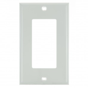 Sunlite 50712 E301/W 1 Gang Decorative Switch and Receptacle Plate, White