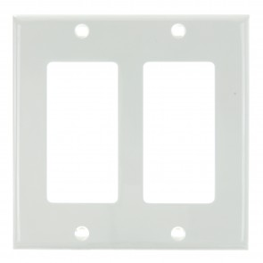 Sunlite 50727 E302/W 2 Gang Decorative Switch and Receptacle Plate, White