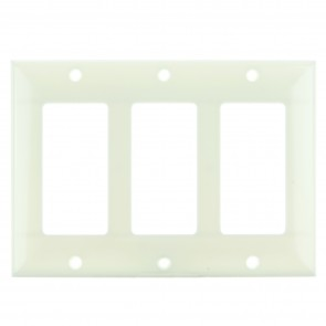 Sunlite 50732 E303/A 3 Gang Decorative Switch and Receptacle Plate, Almond