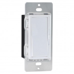 Sunlite 55157 DIMMER/LED/WH ROCKER LED Wall Rocker Style, Slide Bar Dimmer Switch, Screwless Wall Plates Included, Single Pole or 3-Way Switching, Works with Dimmable Light Bulbs, White