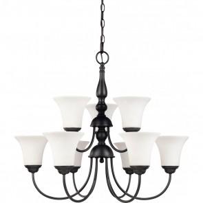 Satco 60-1843 DUPONT 9 LT CHANDELIER,Transitional Style 9 Lamps Medium Base,Dark Chocolate Bronze Finish,Satin White Glass Dupont Chandelier
