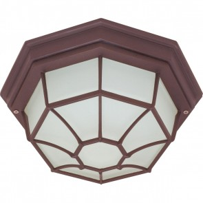 Satco 60-3451 1 LT 12 SPIDER CAGE CEILING 1 Lamps Medium Base Old Bronze Finish Frost White Glass Die Cast Ceiling Spider Cage Fixture