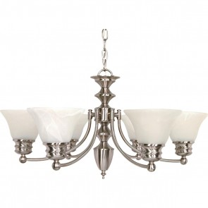 Satco 60-356 EMPIRE 6 LT CHANDELIER,Transitional Style 6 Lamps Medium Base,Brushed Nickel Finish,Frosted Glass Bell Shades Empire Chandelier