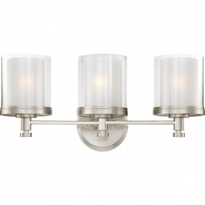 Satco 60-4643 DECKER 3 LIGHT VANITY Contemporary Style 3 Lamps Medium Base Brushed Nickel Finish Frosted Glass Decker Vanity Fixture