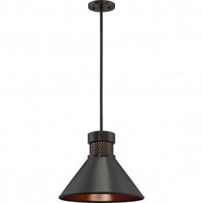 Satco 62-857 DORAL 1 LT LARGE LED PENDANT Doral Glass / Metal Material,Dark Bronze / Copper Accent Finish 120V Volts LED Pendant Warm White 3000K