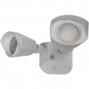 Satco 65-210 LED DUAL HEAD SECURITY LIGHT ,White Finish 100V-277V Volts LED Security Lighting Warm White 3000