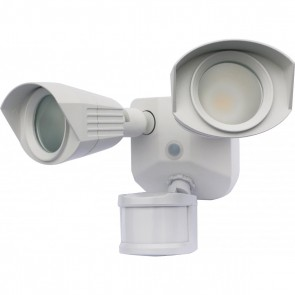 Satco 65-211 LED DUAL HEAD SECURITY LIGHT ,White Finish 120V Volts LED Security Lighting Warm White 3000