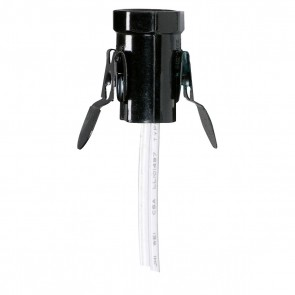"""Satco 80-1151 CAN SNAP/IN SKT W/24"""" WHITE LE White Wire Phenolic Candelabra Base Socket With Spring Clip"""