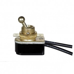 """Satco 80-1767 BRASS ON-OFF TOOGLE SWITCH Brass Finish ,6A-125V Single Circuit,6"""" Leads,3A-250V Rating On-Off Metal Toggle Switch."""