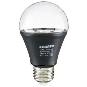 Sunlite 80114 A19/LED/2W/BLB 2 Watt A19 Black Light LED Light Bulb, Medium (E26) Base, UV Black Light