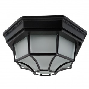 "Sunlite 81314 LFX/OOF/17W/30K/BK 12"" Round LED Decorative Outdoor Fixture, 3000K - Warm White, Matt Black Finish"
