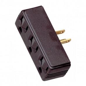 Satco 90-1117 SINGLE TO TRIPLE ADAPTER-BROWN , Brown Finish, Polarized, 15A, 125V Single To Triple Adapter