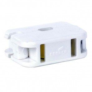 Satco 90-1404 WHITE ADD A TAP , White Finish, Non Polarized, 18/2 SPT-1, 10A, 125V,Add-On Outlet