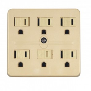 Satco 90-2630 IVORY 6 OUTLETS GRD ADAPTER 1875W, Ivory Finish, 15A-125V, 6 Outlet Grounded Adapter