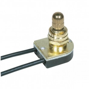 """Satco 90-501 BRASS ROTARY SWITCH 3/8"""" Metal Bushing, Single Circuit, 6A-125V, 3A-250V Rating, Brass Finish On-Off Metal Rotary Switch,"""