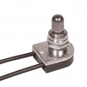 """Satco 90-507 CHROME ROTARY SWITCH , 3/8"""" Metal Bushing, Single Circuit, 6A-125V, 3A-250V Rating, Nickel Finish On-Off Metal Rotary Switch"""