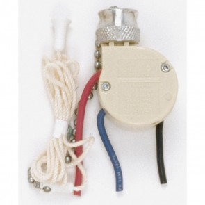 Satco 90-689 2 CIRCUIT 4 POSITION FAN CONTR , 2 Circuit With Metal Chain, White Cord And Bell, 6A-125V, 3A-250V Rating, Nickel Finish 3-Way Ceiling Fan Switch