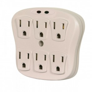 Satco 91-223 6 OUTLET PLUG IN SURGE PROTECT 1800W 6 Outlet Surge Wall Tap, Indoor Use Only, 540 Joules, 15A-120V,