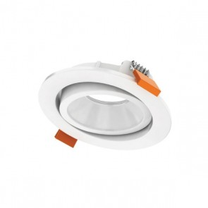 Luxrite AS50207 DLMD TRIM #WRGR ,White Finish Recessed 60º Gimbal Round Trim LED Module & Driver,
