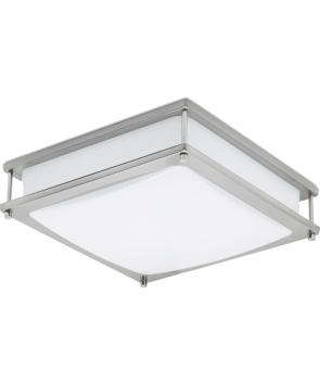 """GreenBeam CLARITY16 LED Clarity Flush Mount 16"""", Brushed Nickel, Square, 180-Watt Equivalent, Dimmable, 3000K Warm White"""