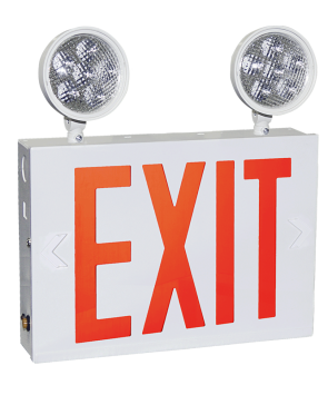 """GreenBeam NYEXCOM602W 8"""" Steel LED Exit Combo Red NY approved Wall Mount And Side Mount"""