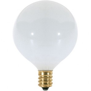 Satco S3271 60 watt G16 1/2 Incandescent Gloss White 1500 average rated hours 630 lumens Candelabra base 120 volts