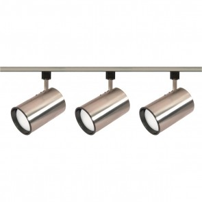 Satco TK341 R30 BR.NIK.STRT.CYL. TRACK KIT Brushed Nickel Finish Medium Base Incandescent R30 - Straight Cylinder Track Kit