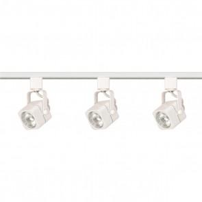 Satco TK345 3LT TRACK KIT SQ. LINE VOLT.WH Line Voltage White Finish Bi Pin GU10 Base MR16 Halogen Square Track Kit